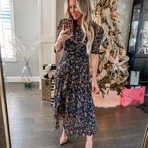 Cece navy floral pink long dress small